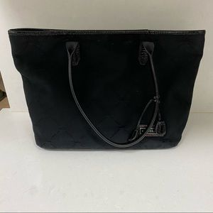 Longchamp Black Fabric tote with pink interior